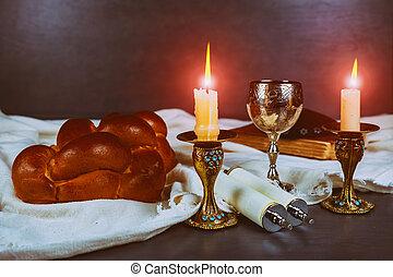 shabbat, shalom, -, traditionele , joodse , ritueel, matzah,...