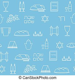 Shabbat symbols seamless pattern. Thin line background....
