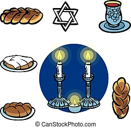 Shabbats icon set.Vector illustration - Shabbat items...
