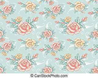 Background Illustration Featuring a Seamless Pattern with a Shabby Chic Design