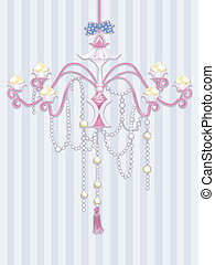 Shabby Chic Chandelier - Shabby Chic Illustration Featuring...