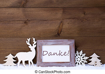 Shabby Chic Christmas Card With Danke Means Thank You - ...
