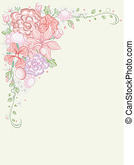 Shabby Chic Corner Border Iilustration Featuring Frilly