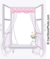 Shabby Chic Curtain - Illustration of a Curtain with a...