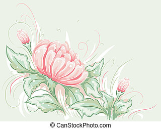 Shabby Chic Flower Design - Shabby Chic-Themed Illustration...