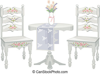 Illustration of a Chair and Table Set with a Shabby Chic Design