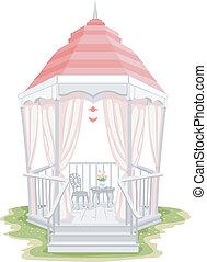 Shabby Chic Gazebo - Illustration of a Gazebo with a Shabby...