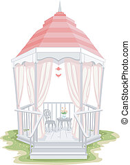 Shabby Chic Gazebo - Illustration of a Gazebo with a Shabby...