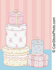 Shabby Chic Gift Boxes - Illustration Featuring Stacks of...