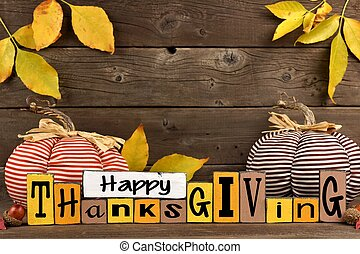 Shabby chic Happy Thanksgiving wood sign with pumpkin decor...