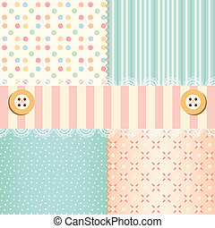 Shabby chic pastel patterns and seamless backgrounds. Ideal for printing onto fabric and paper or scrap booking.