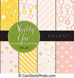 Eight shabby chic conceptual vector seamless pattern collection, perfect for wallpapers, scrapbooking, textiles, web pages and any design as a background or design element. Basanti series