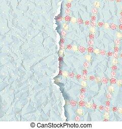 blue background. album cover. flowers paper texture.