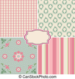 Shabby Chic Rose Patterns and seamless backgrounds. Ideal...