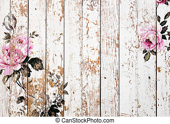 Shabby chic roses on wooden texture - Vintage rose...