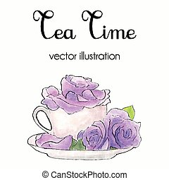 Vector illustration of violet roses in a cup made in watercolor and ink in shabby chic style. Tea time card