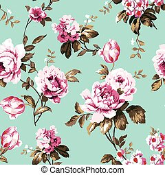 Shabby chic vintage roses seamless pattern - Shabby chic...