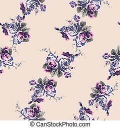 Shabby chic vintage roses seamless pattern