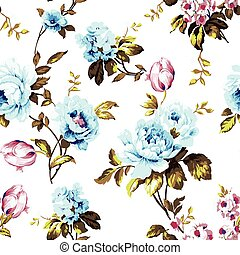 Shabby chic vintage roses, tulips and forget-me-nots vintage seamless pattern, classic chintz floral repeat background for web and print