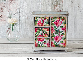 Shabby Chic Wardrobe - Handmade mini wardrobe decoupaged in...