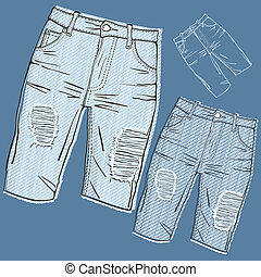Shabby jeans-fashionable youth denim clothing with holes and...