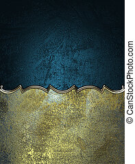 Shabby name plate with gold ornate edges on blue background