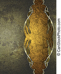 Shabby old metal background with gold pattern. Design...