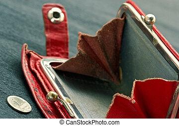 Shabby purse with coin - Shabby purse with last coin