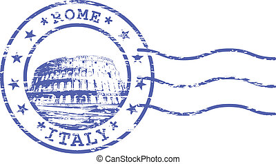 Shabby stamp with Colosseum - sights of Rom