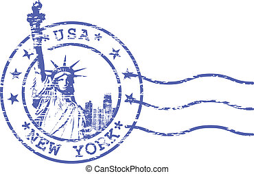 Shabby stamp with Statue of Liberty