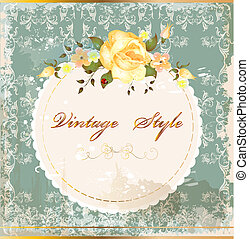 Shabby vintage postcard with roses