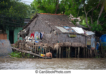 Shack in Can Tho in in the Mekong Delta, Vietnam