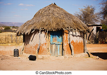 Shack - Traditional African shack in a village in Kalahari