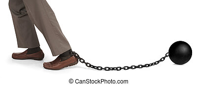shackled - man\'s legs dragging a ball and chain
