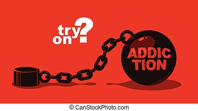 Shackles chain with weight metal ball vector concept, ...