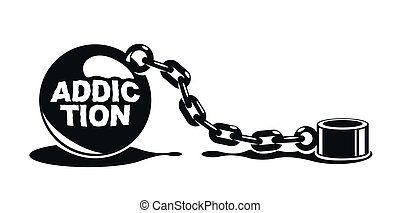 Shackles chain with weight metal ball vector concept...