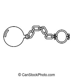 Shackles with ball icon black color illustration flat style simple image