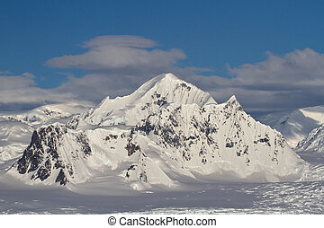 Shackleton Mountain in the mountain range on the Antarctic...