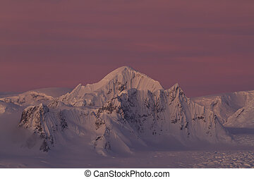 Shackleton peak in a chain of mountains in the Antarctic...