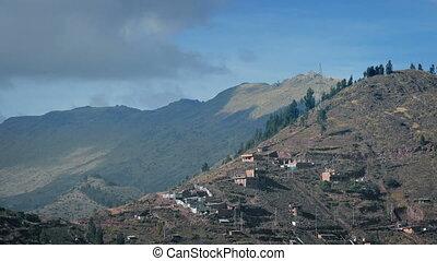 Shacks On Hillside In South America - Hillside with...