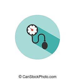shade., médico, pressão, tonometer, sangue, círculo, cheque, ícone