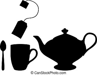 Shade of a cup of tea - Teapot, cup and tea bag on a...