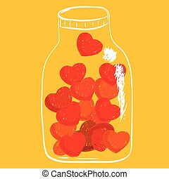 Shade of red hearts in jar
