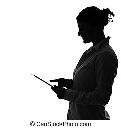 A picture of a shade of a woman working on tablet over white background