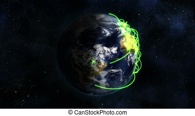 Shaded and cloudy Earth turning with green connections on...