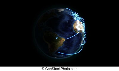 Shaded Earth with blue connection in movement with Earth...