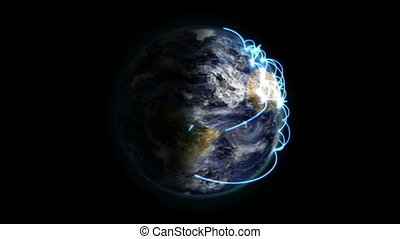 Shaded Earth with blue connections and moving clouds in...