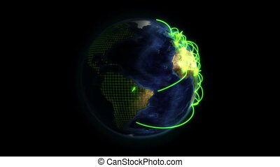 Shaded Earth with green connections in movement with a grid...