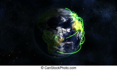 Shaded Earth with green connections in movement with Earth...