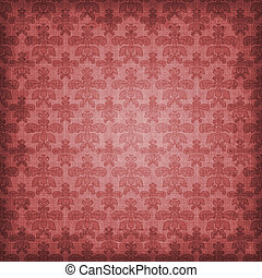 Shaded Red Damask Background - Shaded grungy rosy red to...